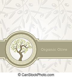 olie, mal, olive, etiket