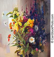 olie male, i, den, smukke, flowers.