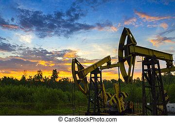 olie, naturlig gas, derrick, pumper, underground., eller