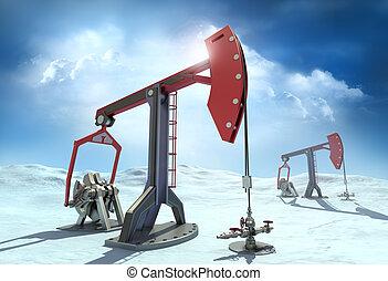 olie, noorden, hefbomen, pomp, optuigen, :