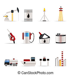 olie, og, benzin, industri, iconerne