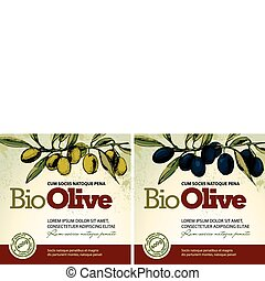 olie, olive, etiketten