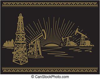 olie, pompen, eenheid, en, de, natuur, van