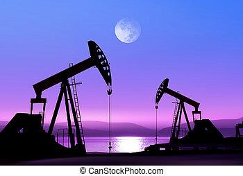 olie pompt op, op de avond