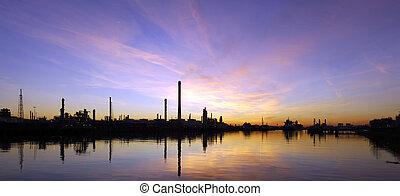 olie, refinary, op, ondergaande zon