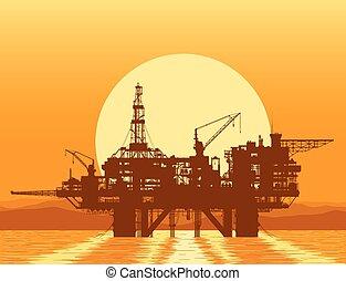 olie, rig., platform., boren, zee, voor de kust