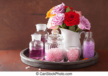 olie, roos, aromatherapy, spa, bloemen, zout, essentieel