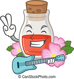 olie, roos, gitaar, vorm, zaad, spotprent