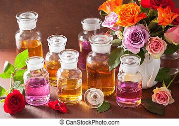 olie, roos, perfumery, aromatherapy, spa, bloemen, essentieel