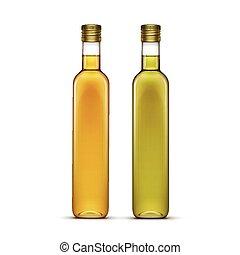 olie, set, zonnebloem, glas, vector, olive, flessen, of