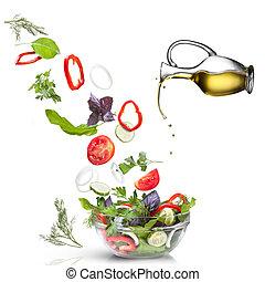 olie, slaatje, groentes, vrijstaand, witte , het vallen