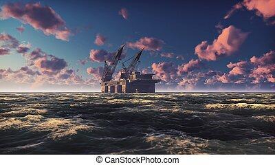 olie, sunrise., perron, vertolking, boren, zee, optuigen, of, voor de kust, 3d