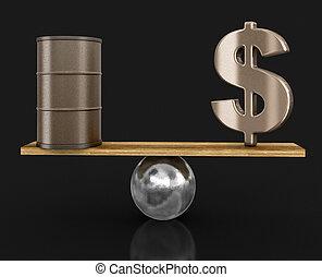 olie tønde, og, dollar tegn, afsluttede, på, plank., image, hos, udklip sti
