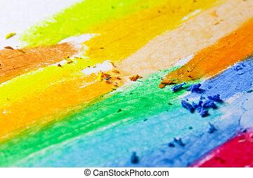 oliepastelkleur, crayons, op, een, witte , papier
