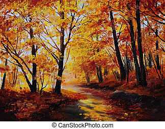 olieverfschilderij, -, kleurrijke, herfst bos, het kunstwerk