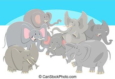 olifanten, groep, spotprent, karakters, dier