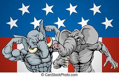 olifanten, vecht, concept