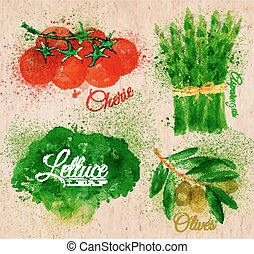 olijven, asperges, sla, tomaten, kers, groentes, watercolor, papier, kraft