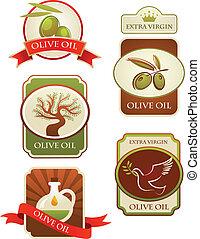 olijven, etiketten, vrijstaand, verzameling, achtergrond., ...