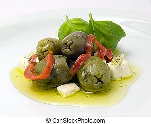 olijven, feta