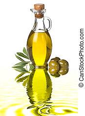 olijven, olie, extra, maagd, fles, olive
