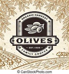 olijven, oogsten, retro, landscape, etiket