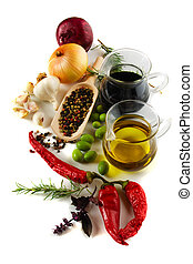 olijvenolie, en, balsemieke azijn, met, middellandse zee,...