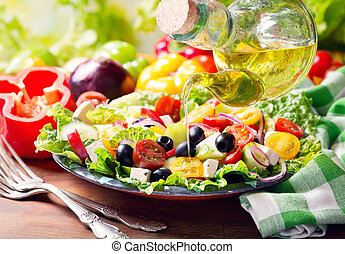 olijvenolie, gieten, in, plaat van, griek slaatje