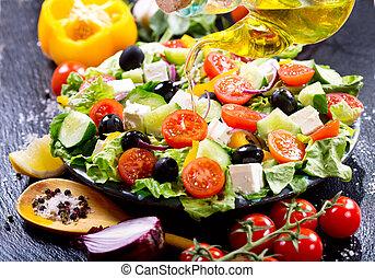 olijvenolie, gieten, in, plaat van salade