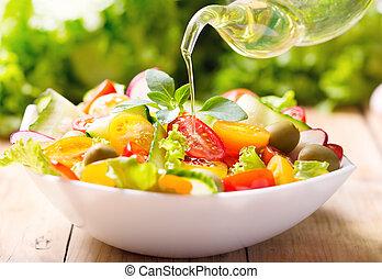 olijvenolie, over gietend, groente, slaatje