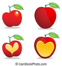 olik, äpplen
