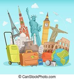 olik, affisch, resa, landmarks., vektor, design, illustrationer, värld