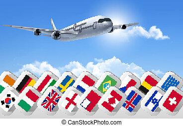olik, bakgrund, resa, countries., flaggan, vector., airplane