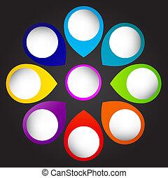 olik, begrepp, färgrik, affär, pilar, illustration, vektor, ...