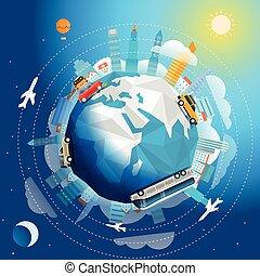 olik, begrepp, resa, illustration, resa, vektor, vehicle., värld, över