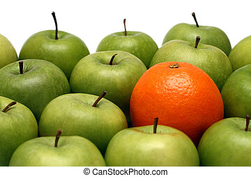 olik, begreppen, -, äpplen, mellan, apelsin