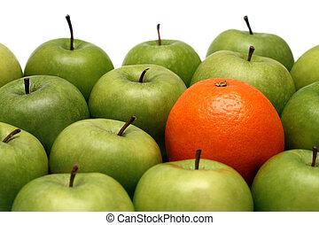 olik, begreppen, -, apelsin, mellan, äpplen