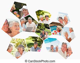 olik, collage, tillsammans, kopplar, spenderande, äldre, tid
