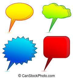 olik, dialog, bubblar