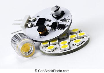olik, elektronik, g4, fört, glödlampor, två, sida, slagen