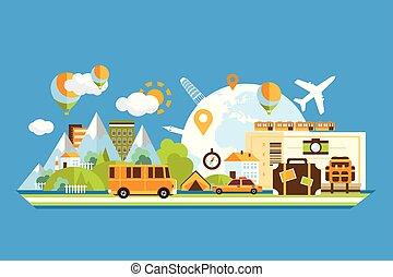 olik, elementara, omkring, touristic, begrepp, resa, illustration, vektor, turism, värld