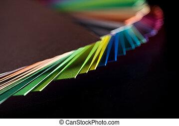 olik, färgrik, papper