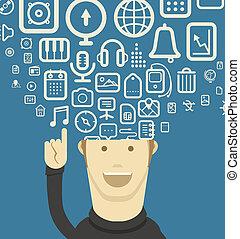 olik, föreställning ikon, tänkande, nymodig, rinner, smartphone.