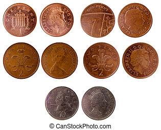 olik, gammal, brittisk, mynter