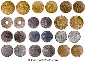 olik, gammal, fransk, mynter