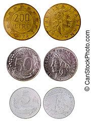olik, gammal, italiensk, mynter