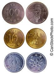 olik, gammal, japansk, mynter