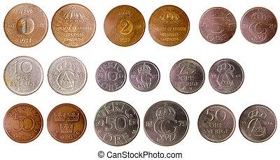 olik, gammal, svensk, mynter