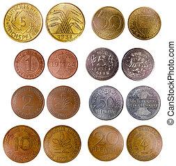 olik, gammal, tyskland, mynter