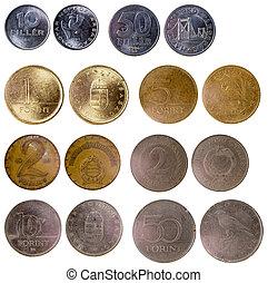 olik, gammal, ungerska, mynter